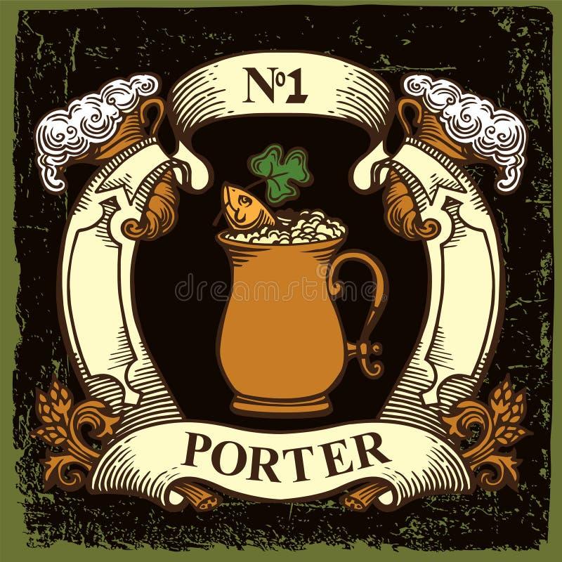 Het etiketontwerp van het bier vector illustratie