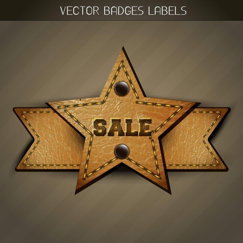 Het etiketontwerp van het verkoopleer vector illustratie