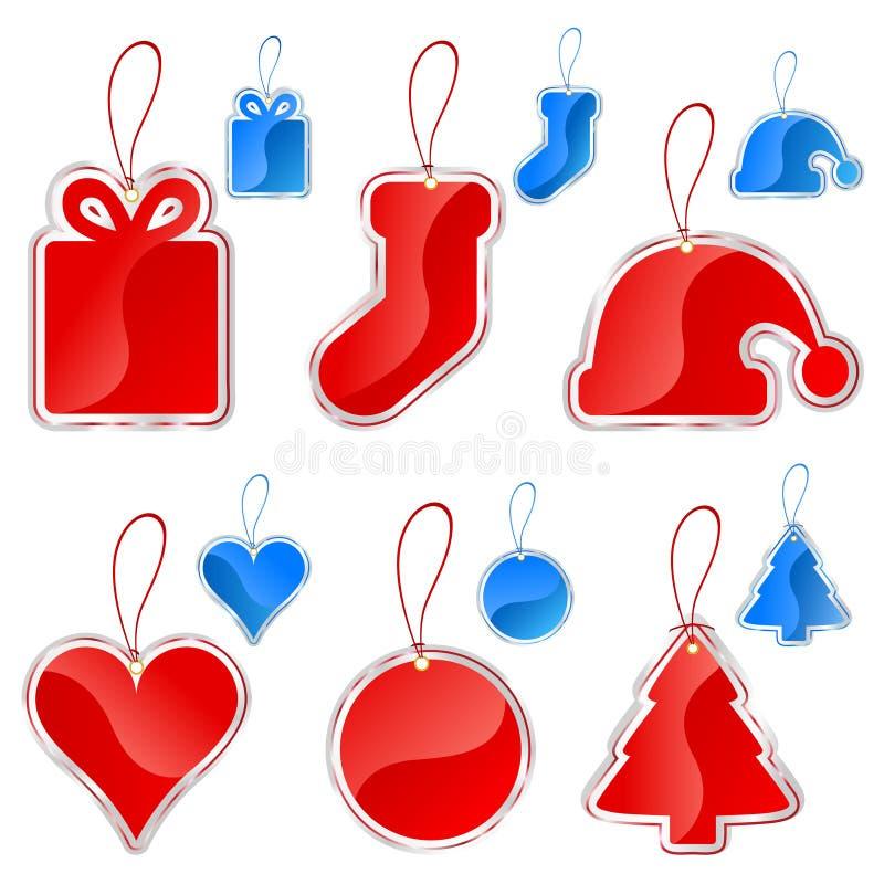 Het etiketreeks van Kerstmis stock illustratie