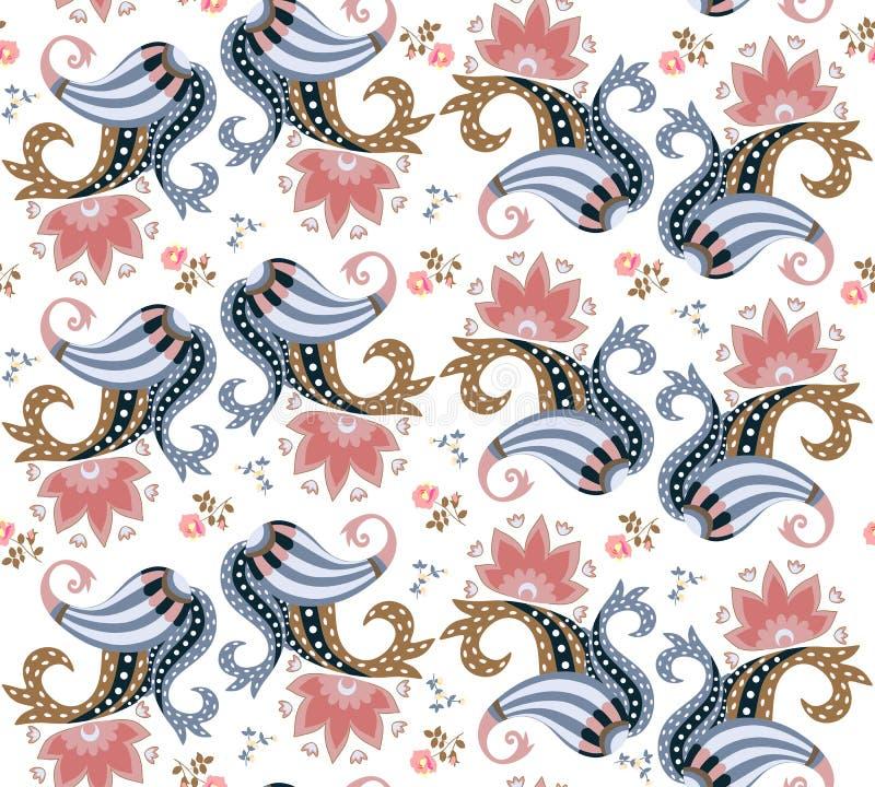 Het etnische bloemen naadloze sierpatroon van Paisley op witte achtergrond Modieuze vectorillustratie royalty-vrije illustratie