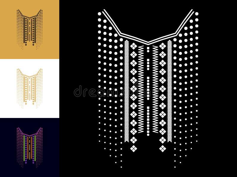 Het etnische geometrische borduurwerk van de halslijn Decoratie voor kleren royalty-vrije illustratie