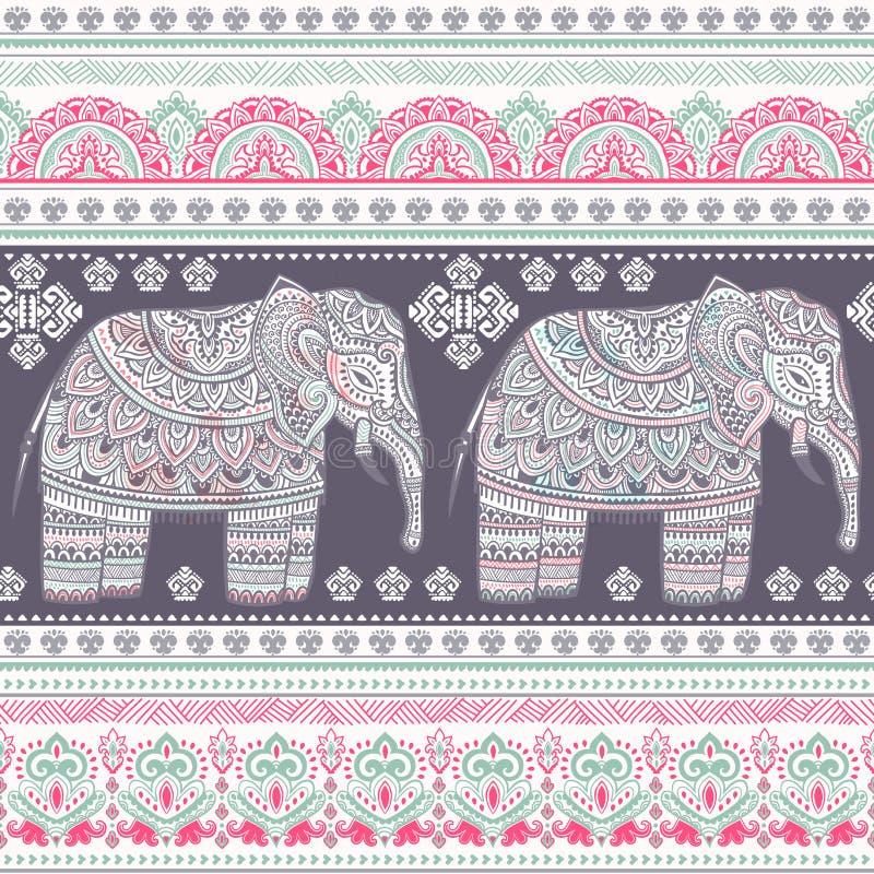 Het etnische Indische Boheemse naadloze patroon van de stijlolifant stock illustratie