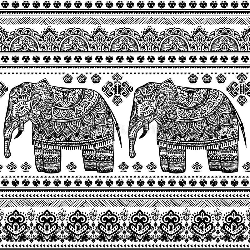 Het etnische Indische Boheemse naadloze patroon van de stijlolifant vector illustratie