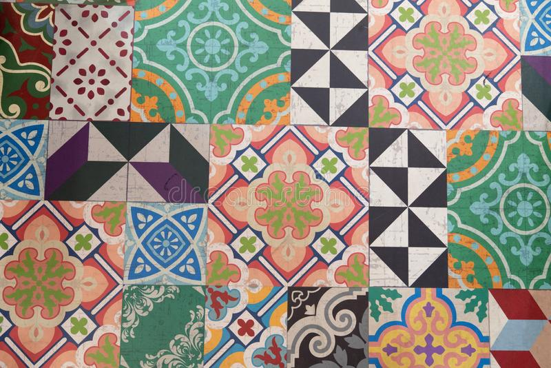 Het etnische naadloze ornament van het de keramische tegelontwerp van patroonazulejo Portugese, Spaanse, Mexicaanse, Braziliaanse stock afbeeldingen