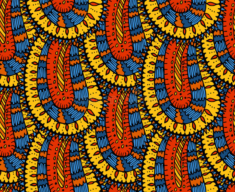 Het etnische naadloze patroon van Paisley in vector Eindeloze abstracte ontwerpachtergrond royalty-vrije illustratie