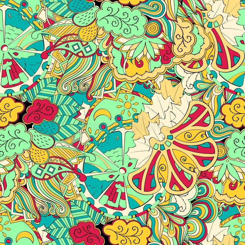 Het etnische ornament van Tracerymehndi Onverschillig discreet kalmerend motief, bruikbaar doodling kleurrijk harmonisch ontwerp  stock illustratie