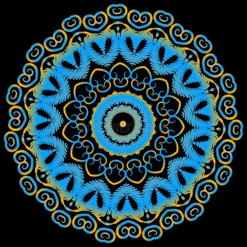 Het etnische patroon van Borduurwerk kleurrijke mandala Vector sier grungy bloemenachtergrond Geweven rond ornament met tapijtwer royalty-vrije illustratie