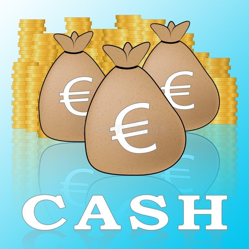 Het euro Contante geld betekent Europese Munt 3d Illustratie stock illustratie