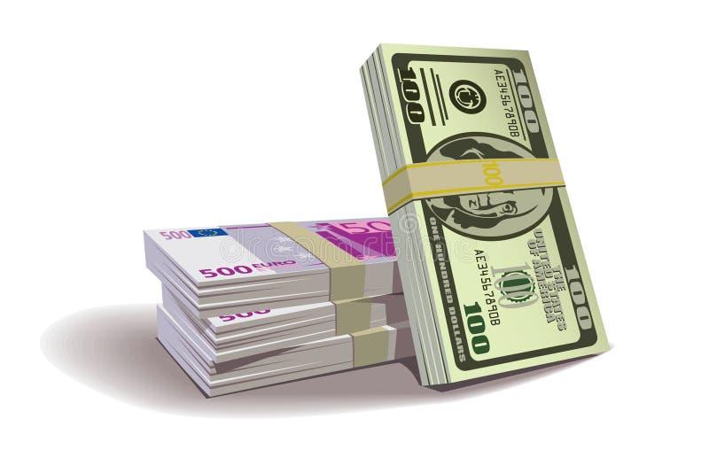 Het euro contante geld van de dollar stock illustratie