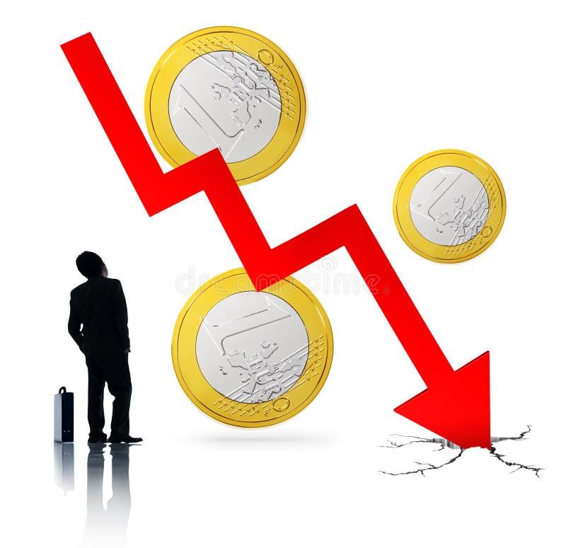 Het euro Instortende concept van de Crisis Financiële Economie stock foto's