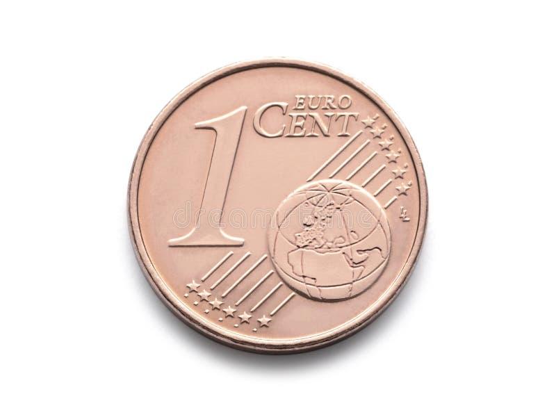 Het Euro muntstuk van één Cent isoleert het 1 cent euro muntstuk op witte achtergrond stock afbeelding