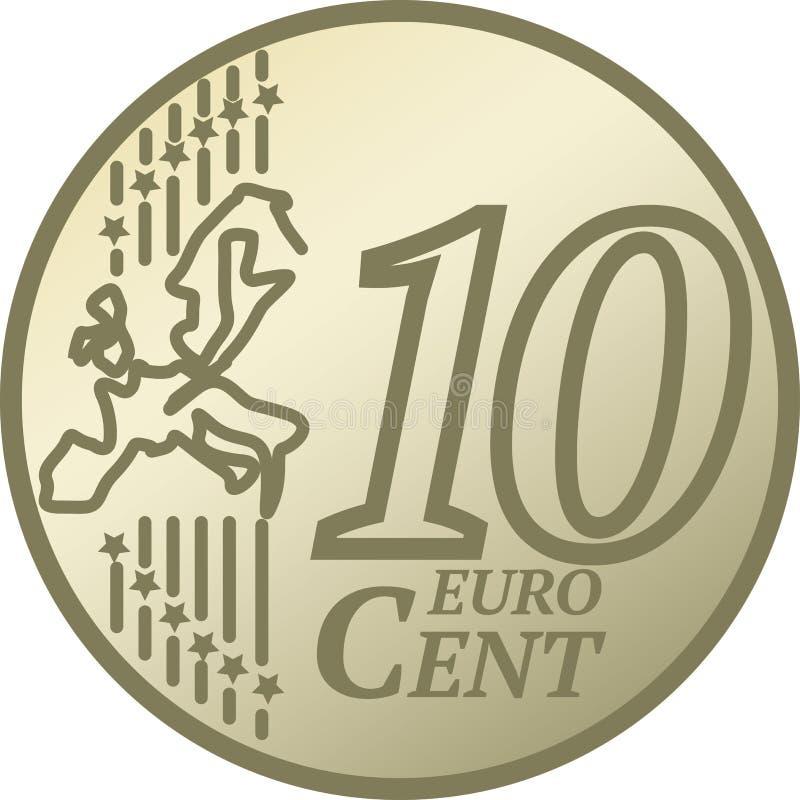Het Euro Muntstuk van Cent tien vector illustratie