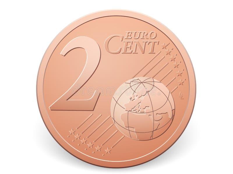 Het Euro Muntstuk van Cent twee royalty-vrije illustratie