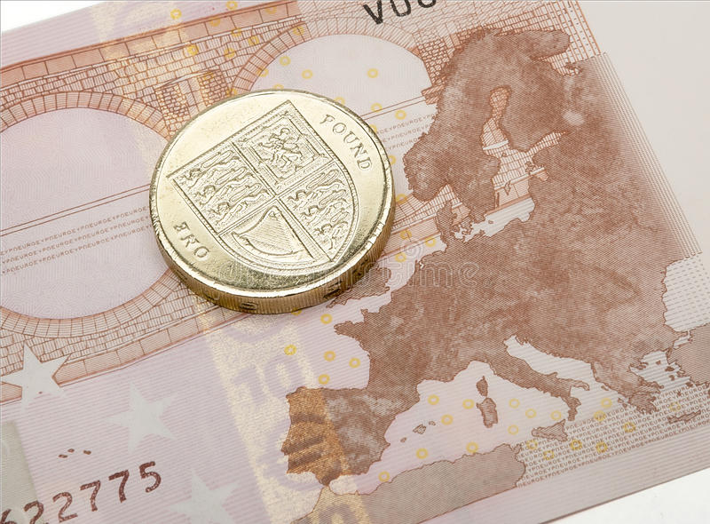 Het euro Nota & Pondconcept van Muntstukbrexit royalty-vrije stock foto's