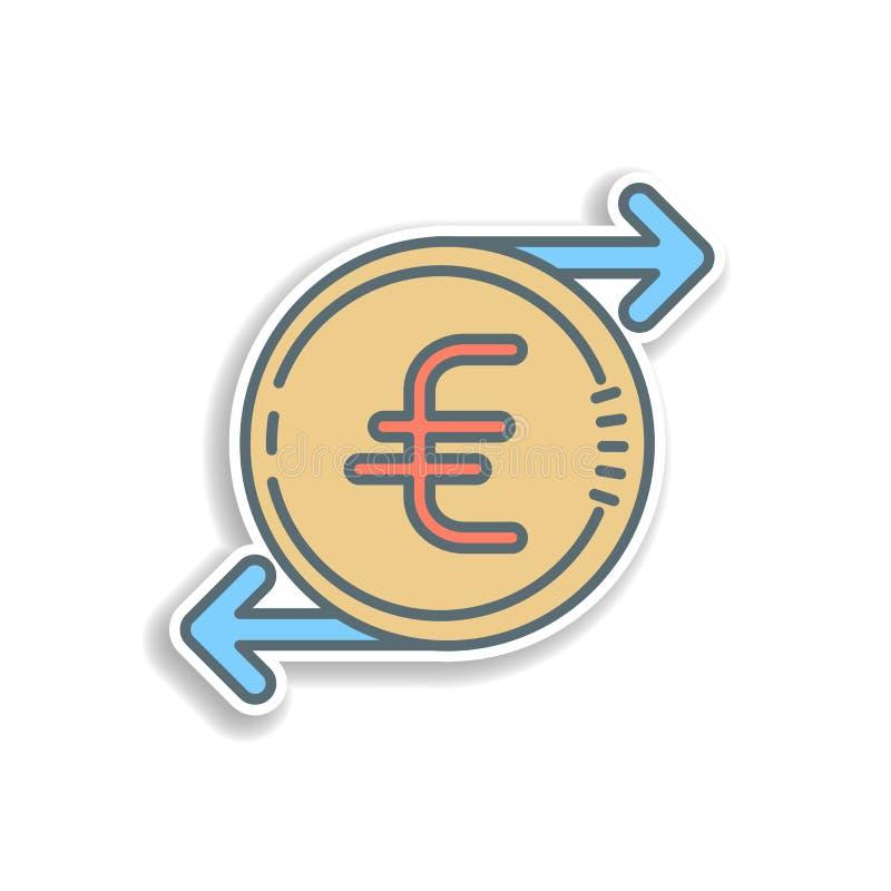 het euro pictogram van de cyclussticker Element van het pictogram van het kleurenbankwezen Het pictogram van het de stickerontwer vector illustratie