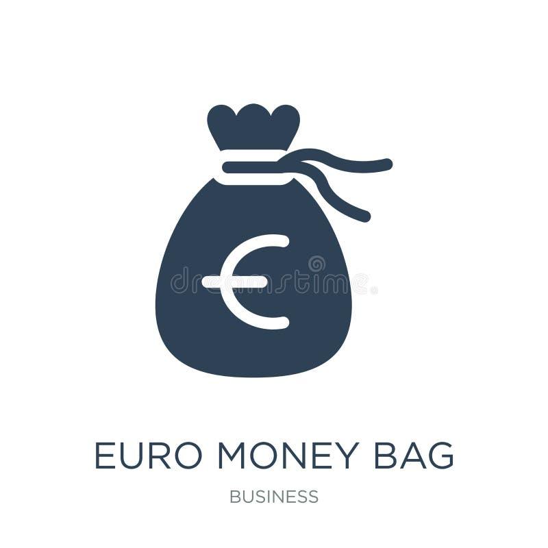 het euro pictogram van de geldzak in in ontwerpstijl het euro die pictogram van de geldzak op witte achtergrond wordt geïsoleerd  stock illustratie