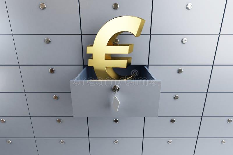 Het euro teken opende de lege cel van de bankstorting royalty-vrije illustratie