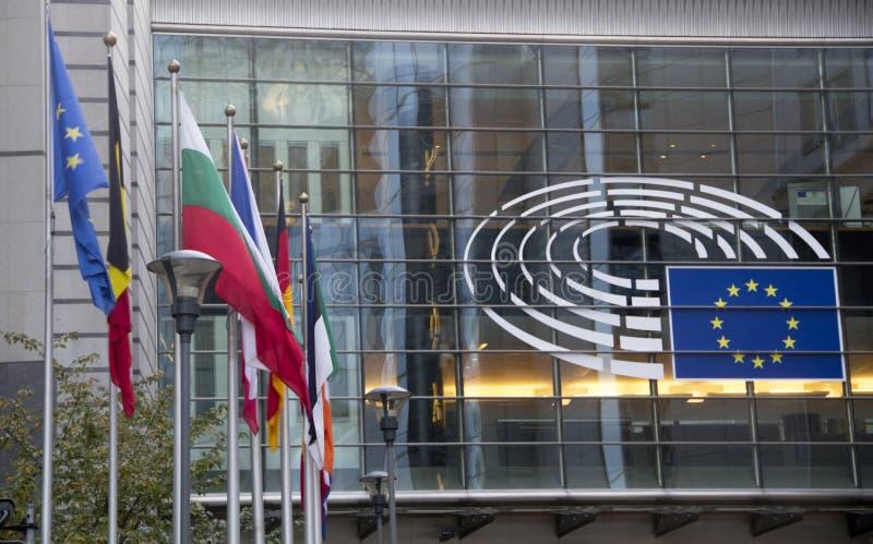 Het Europees Parlement Brussel stock afbeeldingen