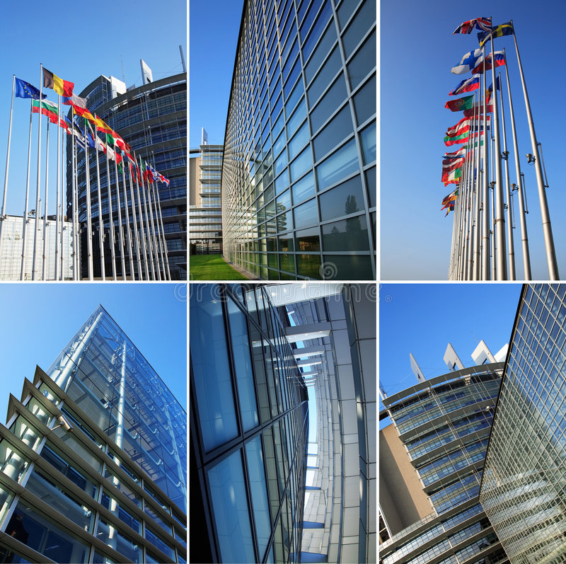 Het Europees Parlement collage royalty-vrije stock foto's
