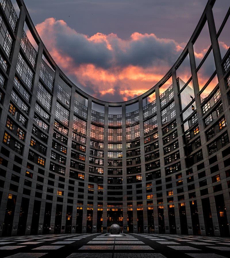 Het Europees Parlement in Straatsburg stock foto