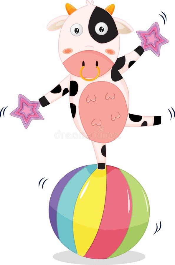 Het in evenwicht brengen van de koe stock illustratie