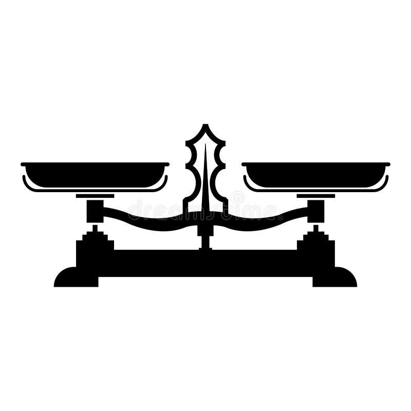 Het in evenwicht brengende van de de wegersweegschaal van de schalenopslag van de het pictogram zwarte kleur beeld van de de illu vector illustratie