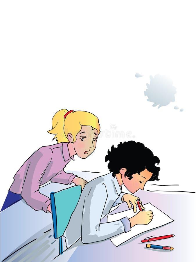 Het examen van studentenmeisjes stock illustratie