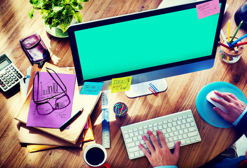 Het Exemplaar Ruimteconcept van zakenmanworking brainstorming planning royalty-vrije stock foto