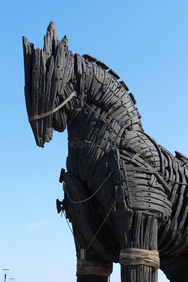 Het exemplaar van Troy houten paard stock fotografie