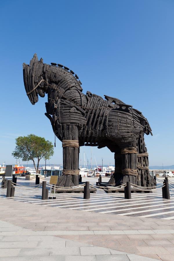 Het exemplaar van Troy houten paard in Canakkale, stock fotografie