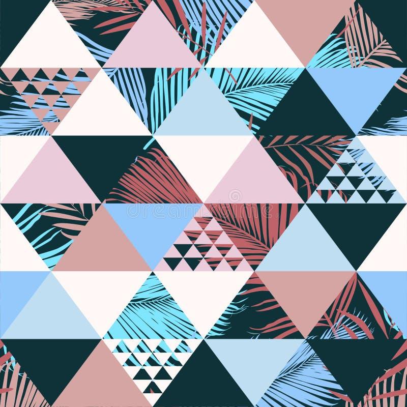 Het exotische strand in naadloze patroon illustreerde bloemen vector tropische bladeren De achtergrond van de behangdruk vector illustratie
