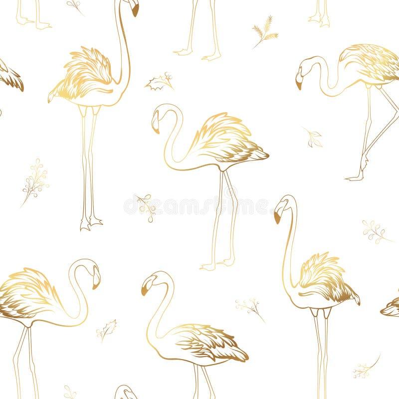 Het exotische tropische van de maretakelementen van flamingovogels naadloze patroon Heldere glanzende gouden kleuren op witte ach vector illustratie