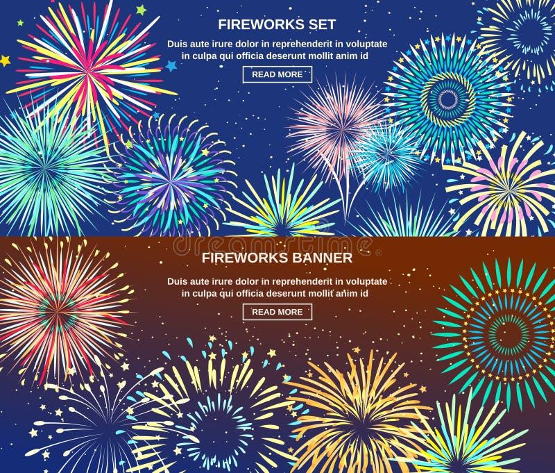 Het exploderen van Vuurwerk Horizontale Banners stock illustratie