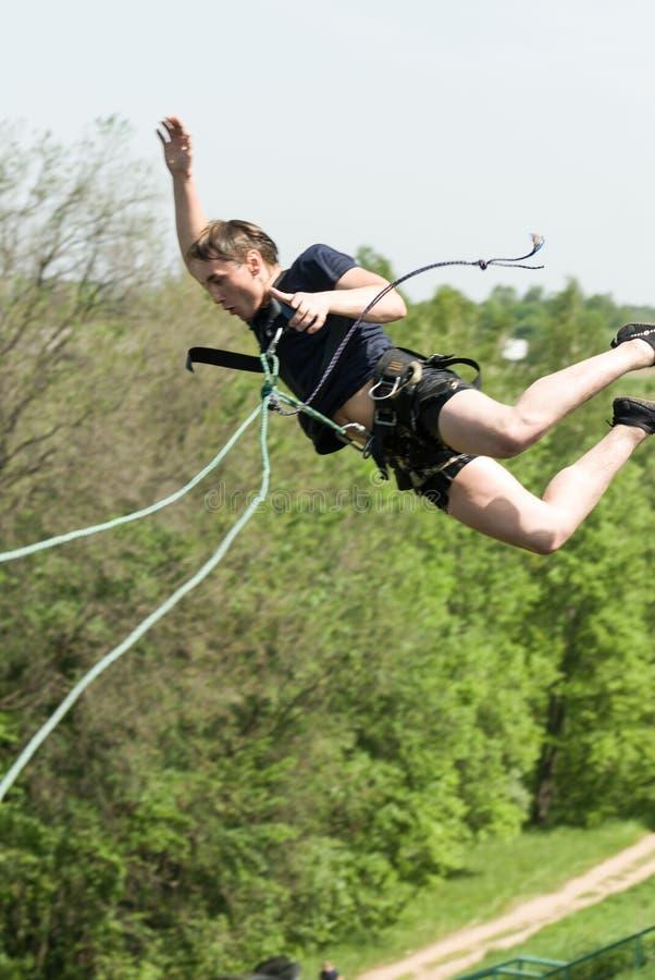 Het extreme ropejumping royalty-vrije stock foto