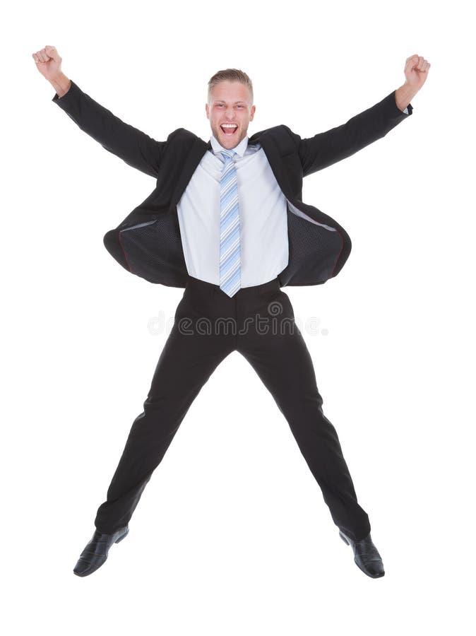 Het Exultant zakenman toejuichen stock fotografie