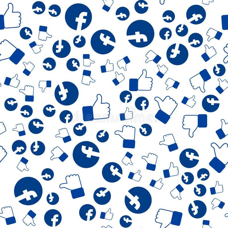 Het facebookpatroon, duimen omhoog, u kan voor behang gebruiken, beelden, Web-pagina achtergrond, oppervlaktetextuur vullen stock illustratie