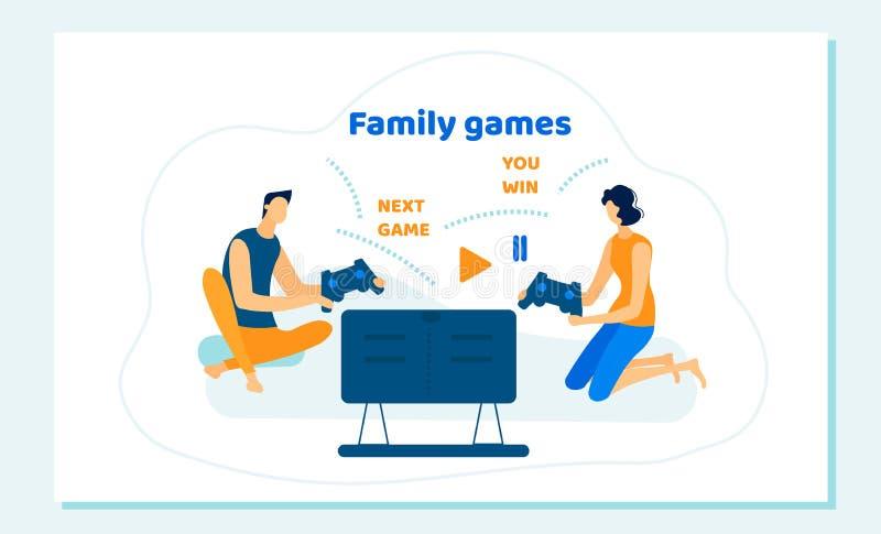 Het familiepaar zit op Sofa Playing Computer Games royalty-vrije illustratie