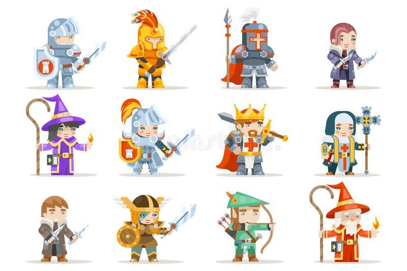 Het fantasie geplaatste rpg karakter van spelhelden vectorpictogrammen vlak ontwerp vectorillustratie royalty-vrije illustratie