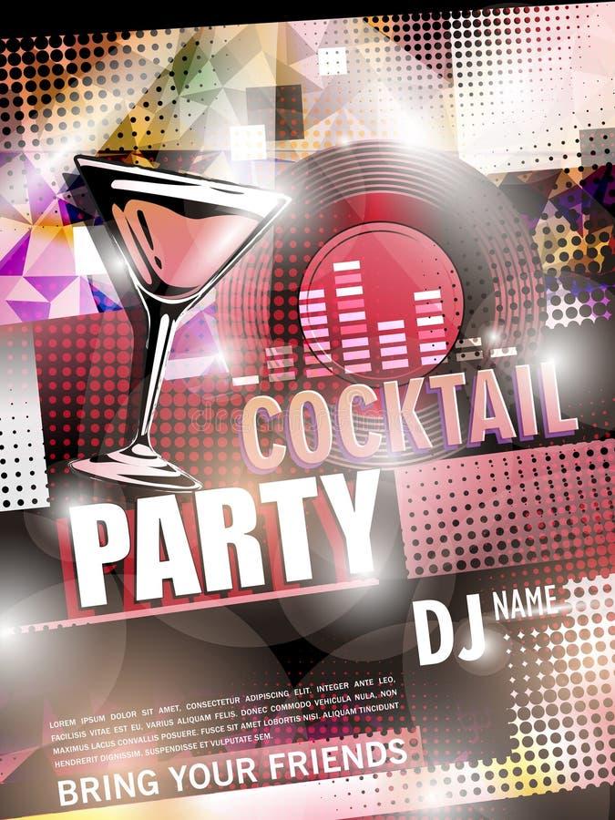 Het fantastische ontwerp van de cocktail partyaffiche stock illustratie