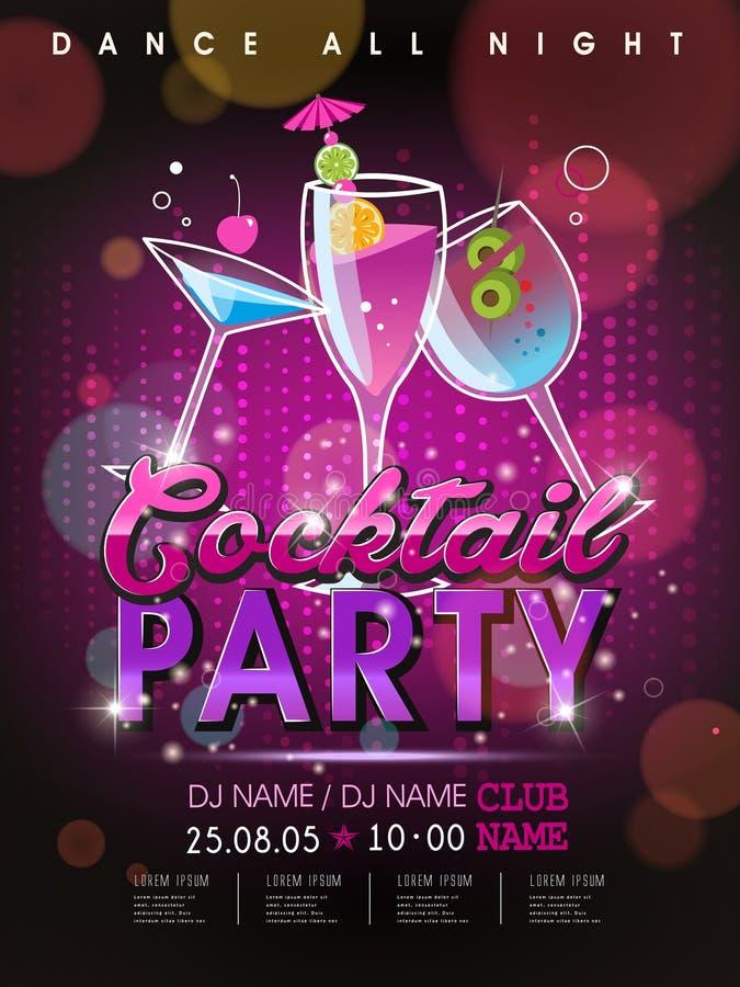 Het fantastische ontwerp van de cocktail partyaffiche vector illustratie