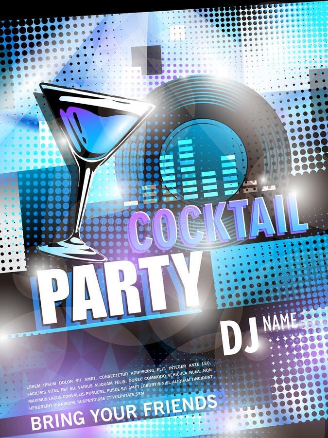 Het fantastische ontwerp van de cocktail partyaffiche royalty-vrije illustratie
