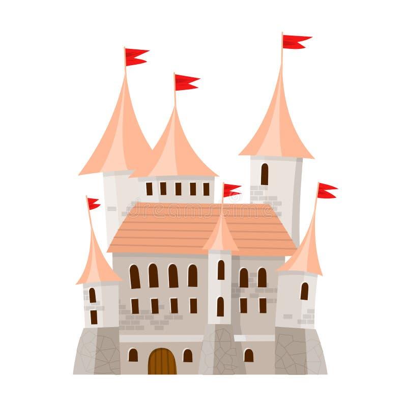 Is het fee middeleeuwse kasteel in beeldverhaalstijl op witte achtergrond geïsoleerd vector illustratie