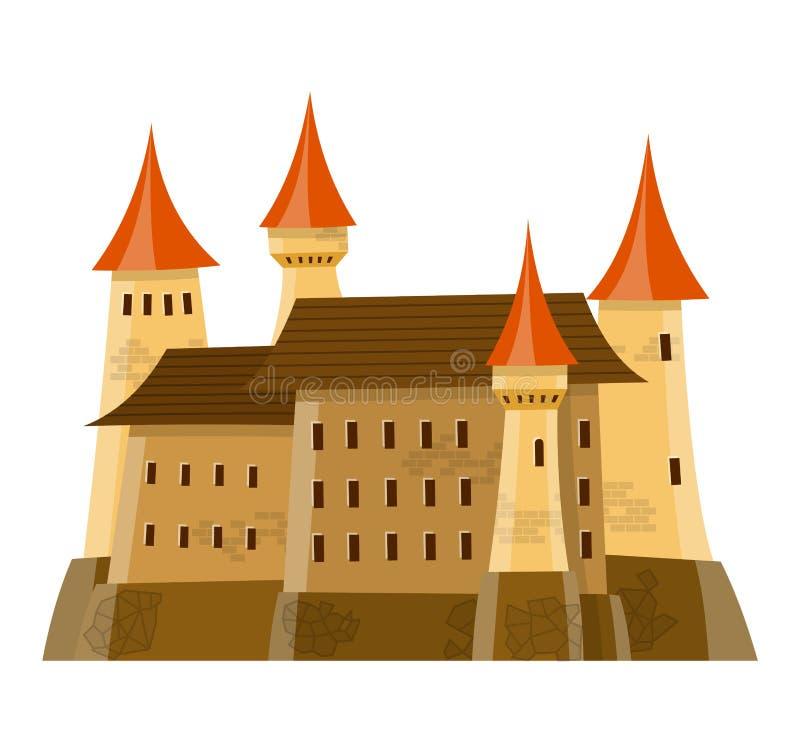 Is het fee middeleeuwse kasteel in beeldverhaalstijl op witte achtergrond geïsoleerd stock illustratie