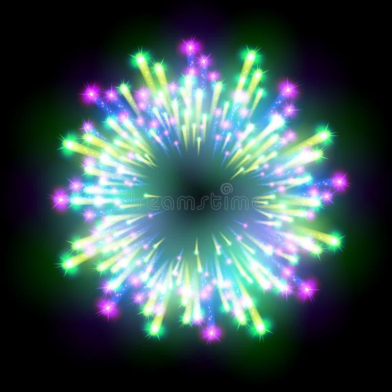 Het feestelijke gevormde vuurwerk die in diverse vormen fonkelende die pictogrammen barsten tegen zwarte abstracte vector worden  royalty-vrije illustratie
