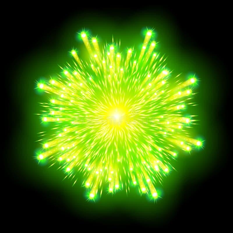Het feestelijke gevormde vuurwerk die in diverse vormen fonkelende die pictogrammen barsten tegen zwarte abstracte vector worden  vector illustratie