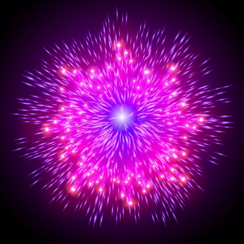 Het feestelijke gevormde vuurwerk die in diverse vormen fonkelende die pictogrammen barsten tegen zwarte abstracte vector worden  stock illustratie