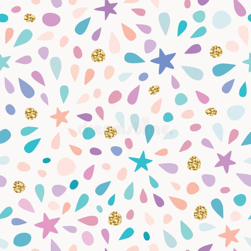 Het feestelijke naadloze patroon met schittert confettien, sterren en plonsen Voor verjaardagsviering Vector vector illustratie