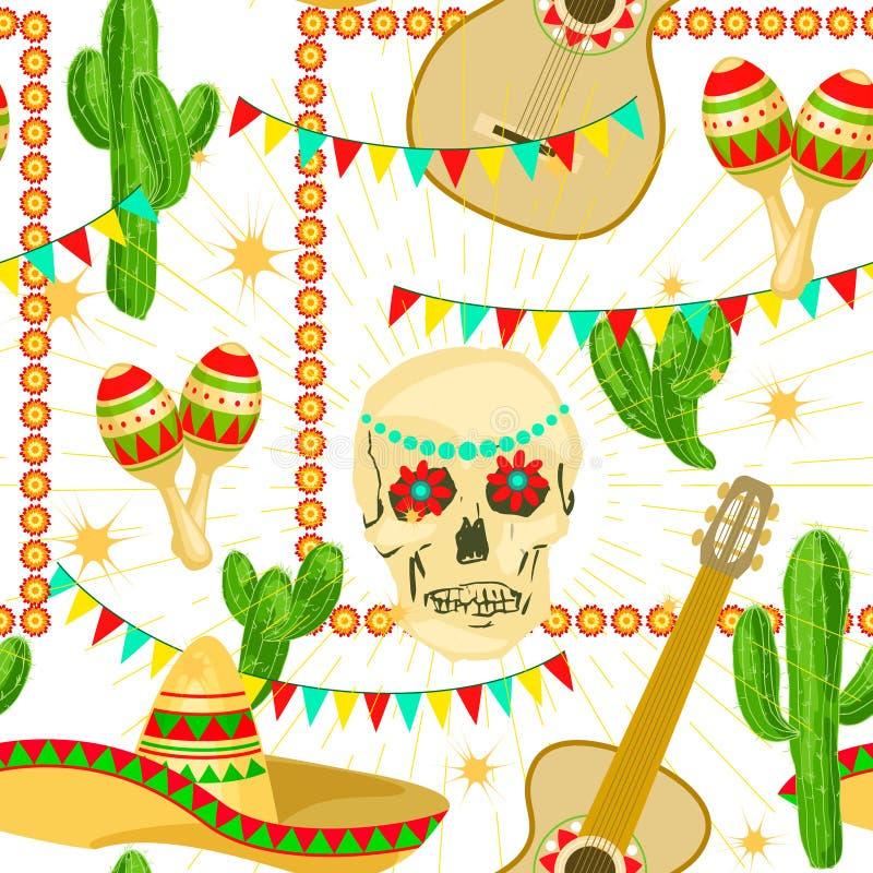 Het feestelijke Naadloze patroon van Cinco de Mayo Mexican vector illustratie