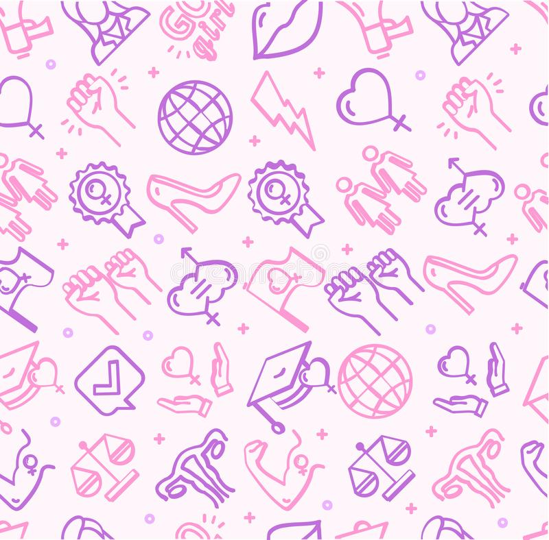 Het feminisme ondertekent Naadloze Patroonachtergrond op een Wit Vector stock illustratie