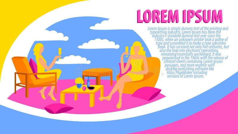 Het feminisme van de de plaatsvrouw van de affichekaart het drinken van de kip-partij vlak van de de zittingswijn ontwerp kleurri royalty-vrije illustratie